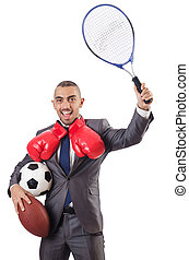 Man with sports gear isolated on the white