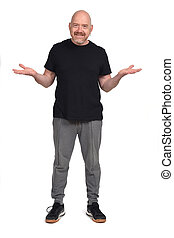 man with sportswear have a question on white background