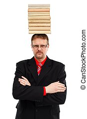 Man with stacked books on head