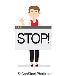 Man with Stop Sign Vector Illustration