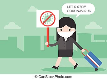 Man with stop virus sign, Let's stop coronavirus vector