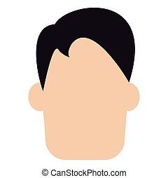 caucasian man with black straight hair vector illustration