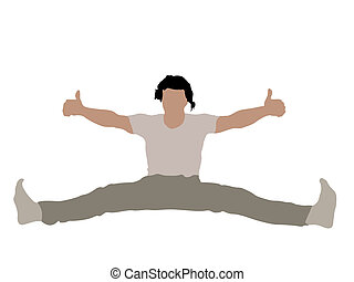 man with stretched legs and thumbs up on white background
