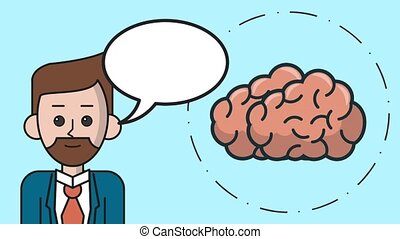 Man with suit talking about brain HD animation - Man with...