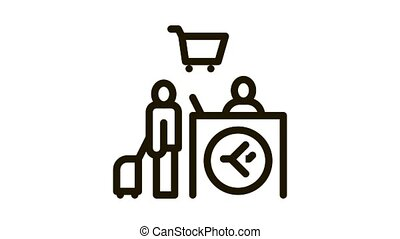 man with suitcase at checkout duty free Icon Animation. black man with suitcase at checkout duty free animated icon on white background