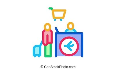 man with suitcase at checkout duty free Icon Animation. color man with suitcase at checkout duty free animated icon on white background