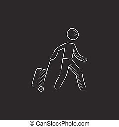 Man with suitcase. Drawn in chalk icon.