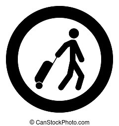 Man with suitcase icon black color in circle