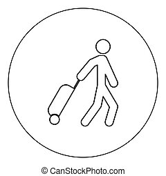 Man with suitcase icon black color in circle vector illustration isolated