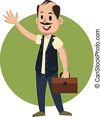 Man with suitcase, illustration, vector on white background.