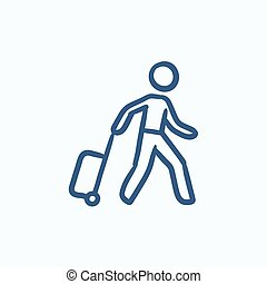 Man with suitcase sketch icon.