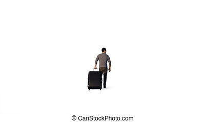 Man with suitcase walking, against white