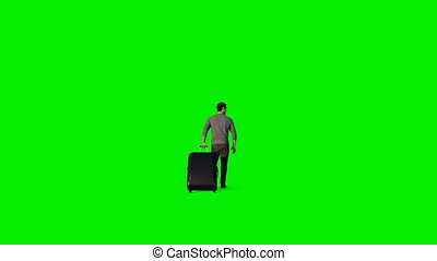 Man with suitcase walking, Green Screen
