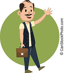 Man with suitcase waving, illustration, vector on white background.