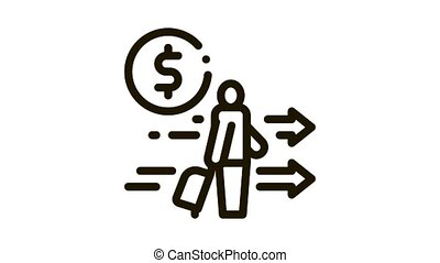 man with suitcase with money Icon Animation. black man with suitcase with money animated icon on white background