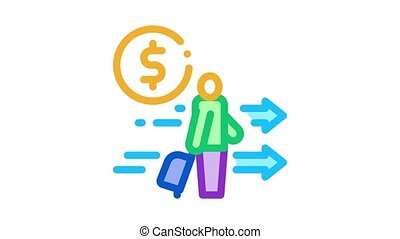 man with suitcase with money Icon Animation. color man with suitcase with money animated icon on white background