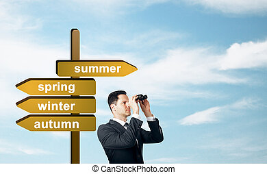 Man with summer sign
