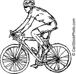 man with sunglasses cycling - vector illustration sketch hand drawn with black lines, isolated on white background