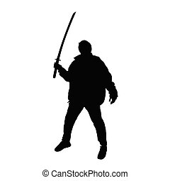 man with sword posing silhouette