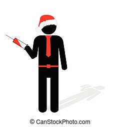 man with syringe in hand vector