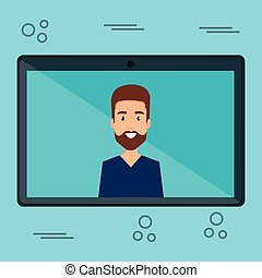 man with tablet character