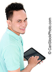 man with tablet computer