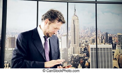 Man with tablet in New York office