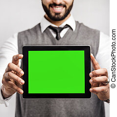 Man with Tablet on White