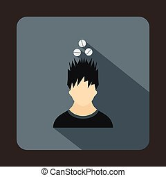 Man with tablets over head icon, flat style