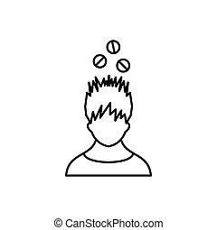 Man with tablets over head icon, outline style