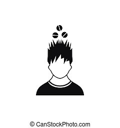 Man with tablets over head icon, simple style