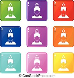 Man with tablets over head icons 9 set
