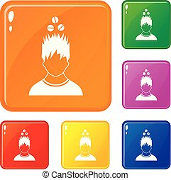 Man with tablets over head icons set vector color