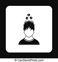 Man with tablets over his head icon, simple style
