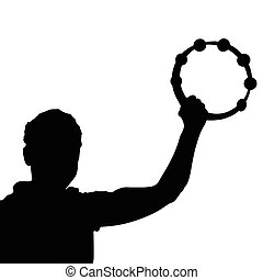 man with tambourine vector silhouette