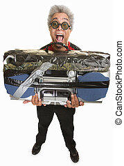Man with Taped Boom Box