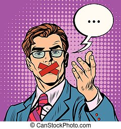Man with taped mouth pop art retro vector. Censorship and...