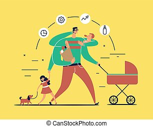 Man with task icons around head and several arms carries newborn child, stroller, bag with food, talks on phone and leads daughter walking dog on leash. Concept of single father. Vector illustration