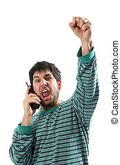 after lotto lottery news - man with telephone in the...