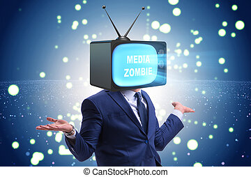 Man with television head in tv addiction concept