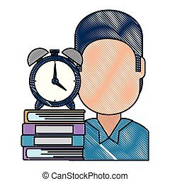 man with text books and alarm clock