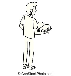 man with text books