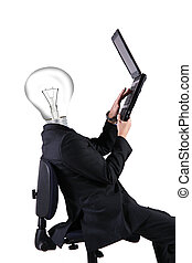 man with the computer and head light bulb