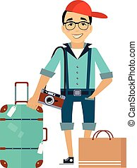 Man with the Luggage traveler Colourful Vector Illustration