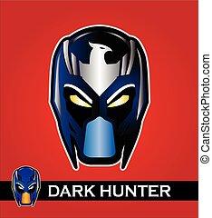 Superhero head in shiny color.