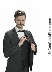Young man with a handlebar mustache and pin-striped suit pulls out his wallet