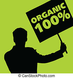 man with the slogan for organic