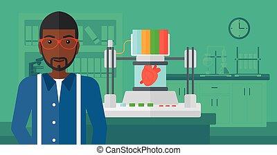 Man with three D printer.