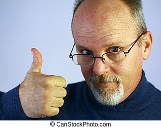 Man with thumb up