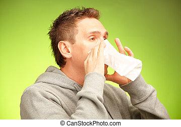 Man with tissue